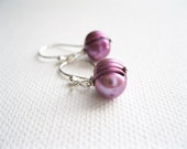 Plum Purple Freshwater Pearl & Sterling Silver Earrings - Purple Earrings - Wedding Jewellery - UK Seller - Plum Pearl Earrings - Petite