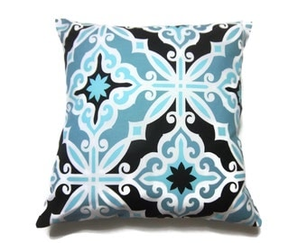 Decorative Pillow Cover Cadet Blue Turquoise Black White Damask Design Same Fabric Front/BackThrow Toss Accent 18x18 inch x