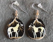 Antler Earrings Black/Gold Paint Horse