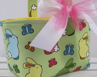 Easter Fabric Candy Bucket Egg Hunt Basket Storage Bin Container - Fun Bunnies and Butterflies