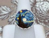 Van Gogh, Starry Night, Silver Adjustable Glass Bubble Charm Cameo Ring