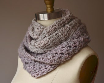 SALE - two-tone pearl gray asymmetrical loop scarf - soft merino infinity cowl