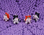 Kitty Cat knitting or crochet stitch markers - Set of 4 - Polymer Clay