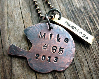 Rustic Copper Football Helmet and Brass Team Tag Necklace - Personalized, Mens Gift, Team Gift, Hand Stamped