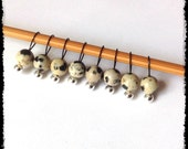 Snag Free Stitch Markers Extra Small Set of 8-- Dalmatian Jasper -- J77-- For up to size US 4 (3.5mm) Knitting Needles