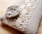 Handmade Wedding Clutch Purse, Linen Lace clutch purse, natural beige, bridesmaid gift idea, Rosette Lace