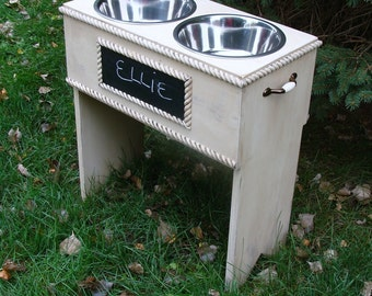 Elevated Dog Feeder Personalized Bowl Holder Dog Bowls Feeding Stand, Custom
