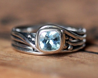 Rustic engagement ring set - aquamarine gemstone ring - recycled sterling silver - handmade wedding rings - Pirouette - custom made to order