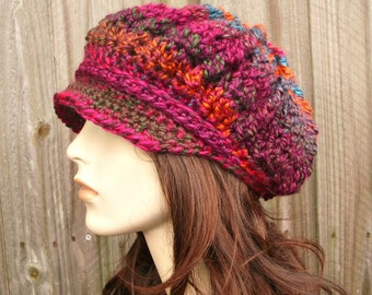 Crochet Hat Womens Hat Newsboy Hat - Spring Monarch Ribbed Crochet Newsboy Hat in Passion Fruit Magenta Teal Orange Womens Accessories