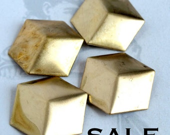 Brass Geometric Square Cube Charms / Pendants (8X) (V326) SALE - 50% off