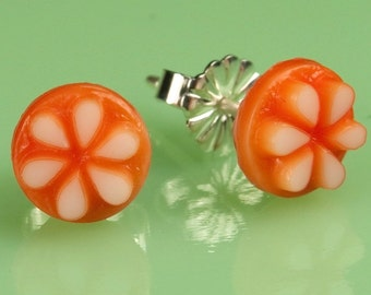 Vintage Small  Orange with White Flower Button Post Earrings