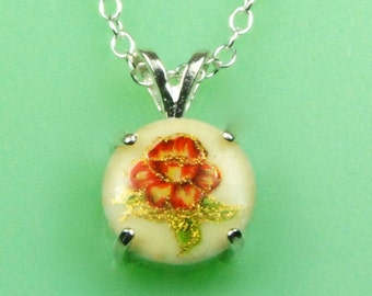 Vintage Red Rose 1940s Japanese Button Necklace