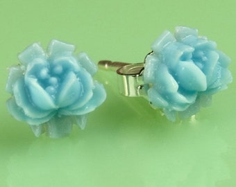 Vintage Small Blue  Rose Button Post Earrings