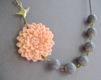 Flower Necklace,Peach Flower Necklace,Floral Necklace,Grey Necklace,Bridesmaid Necklace,Bridesmaid Gift,Wedding Jewelry Set,Peach Jewelry