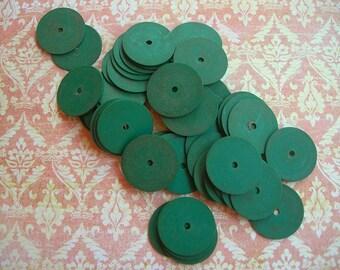 Vintage African Sequins Vinyl Vulcanite DARK GREEN 15mm lot of 50 extra large