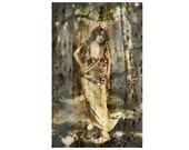 Instant Download Vintage Yellow Mustard Garland Floral Forest Woods Fairy Woman Photo Digital Download Commercial Use Digital Graphics