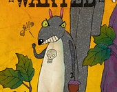 """Evil Squirrel Card """"Wanted"""" Very Pissed Off Squirrel Shaking His Fist Skull Tattoo On Chest - Blank Inside Original Digital Art - Large Card"""