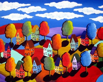 Colorful Landscape Houses Trees Original  Painting Whimsical Original Folk Art
