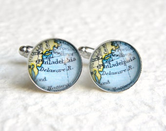 Philadelphia Map Cufflinks Cuff Link Set - YOU PICK your map - Choose from  25 designs - Great for groomsmen Gift - Also featuring Camden