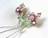 Rose & Mint Lampwork Earrings, Swarovski Crystals, Silver Kidney Wires... Spring Pastel Earrings