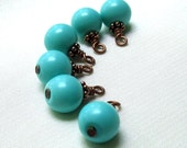 Handmade Turquoise Beaded Charm Dangles, Silver or Antique Copper Wire Wrapped 6pc Set, Jewelry Components, Earring Findings