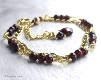 Adjustable Garnet Gold Chain Bracelet, Double Strand Wire Wrapped Genuine Gemstone, January Birthstone, Christmas Gift for Her