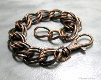 Men's Chain Link Bracelet, Antique Copper Double Curb Link, Large Swivel Lobster Clasp... Unisex Jewelry