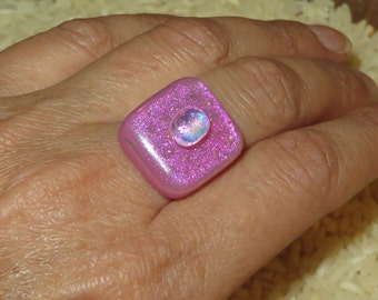 nice brignt pink DICHROIC fused glass ring  (adjustable)