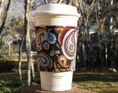 Fabric coffee cozy / cup sleeve / coffee sleeve  -- Paisleys and Swirls