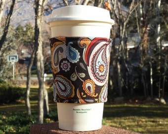 FREE SHIPPING UPGRADE with minimum -  Fabric coffee cozy / cup sleeve / coffee sleeve  -- Paisleys and Swirls