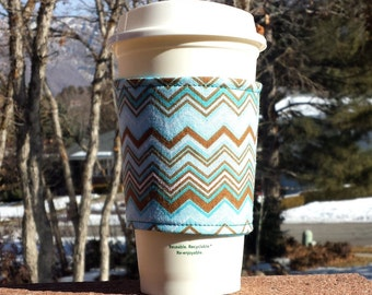 Holiday Sale! Fabric coffee cozy / cup holder / coffee sleeve / can koosie / mason jar cozy - Aqua and Brown Chevron