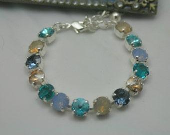 Sun Sand Beach Costal Swarovski Elements Tennis Bracelet Rhinestone 8mm Teals Opal Blues