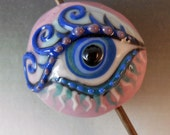 Eye Bead Purple and Blue - Porcelain Art Bead