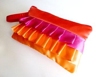 Coral Shocking Pink and Orange Horizontal Ruflled Wristlet