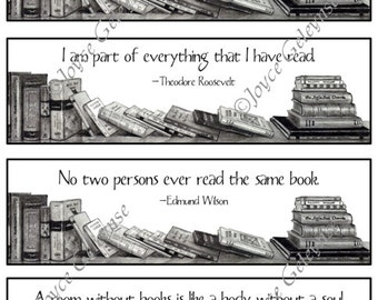Printable Bookmarks,  Book Lover Quotes: Pencil Drawing, Stacks of Books, Instant Download