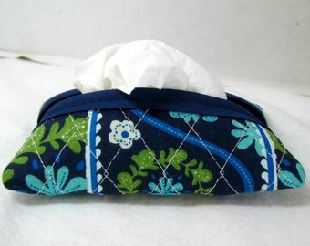 Quilted Tissue Holder - Pocket Size Tissue Case - Floral Purse Tissue Cozy - Navy Turquoise Olive Green