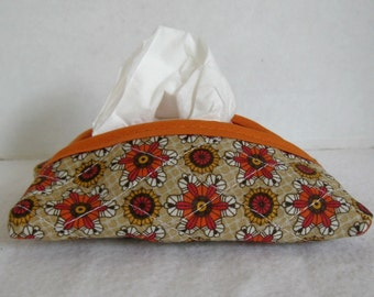 Fall Floral Pocket Tissue Cozy Brown Orange Tissue Case Purse Size