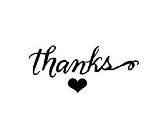 Thanks with heart Calligraphy Rubber Stamp