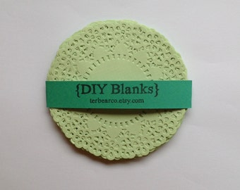"""4.5"""" Paper Doilies Doily Soft spring green fancy Lace Qty 25 great for stamping"""