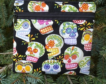 Sugar skulls iPhone purse with shoulder strap option, clutch, wristlet, hipster bag, waist pack, Day of the Dead, The Squirrel