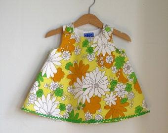 Flower Power Dress, Girls Dress, Newborn Dress, Baby Dress, Toddler Dress, Girls Sundress, Floral Dress, Daisy Dress, Pinafore, Newborn - 4T