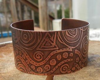 Doodles  Zentangle Copper Cuff Bracelet Etched Copper handmade Jewelry Gypsy Boho SRA