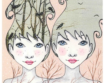 Twins -  print - two sisters portrait - mixed media art