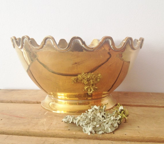 Brass Lotus Bowl - Crown Bowl - Scalloped Edges