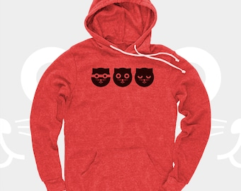 Men's Hoodie Watson the Cat Three Musketeers, Men Sweatshirt, Red, Crazy Cat, Kitty, Cat Sweatshirt, Pullover Hoodie for Men