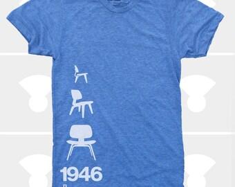 Men's TShirt Eames Plywood Chair 1946, Mid Century Modern, Eames Lounge Chair Shirt, S,M,L,Xl,Xxl, Design, Blue (4 Colors) T-Shirt for Men