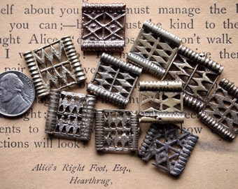 EIGHT VINTAGE AKHA Belt Pieces with 2 Channels