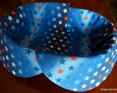 Basket Liner, Bread Cloth, TableTopper, Centerpiece, Red, White and Blue Stars on Blue Stripe Glitter Background, Handmade Table Linens