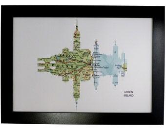 Dublin City Ireland Skyline Print with vintage map