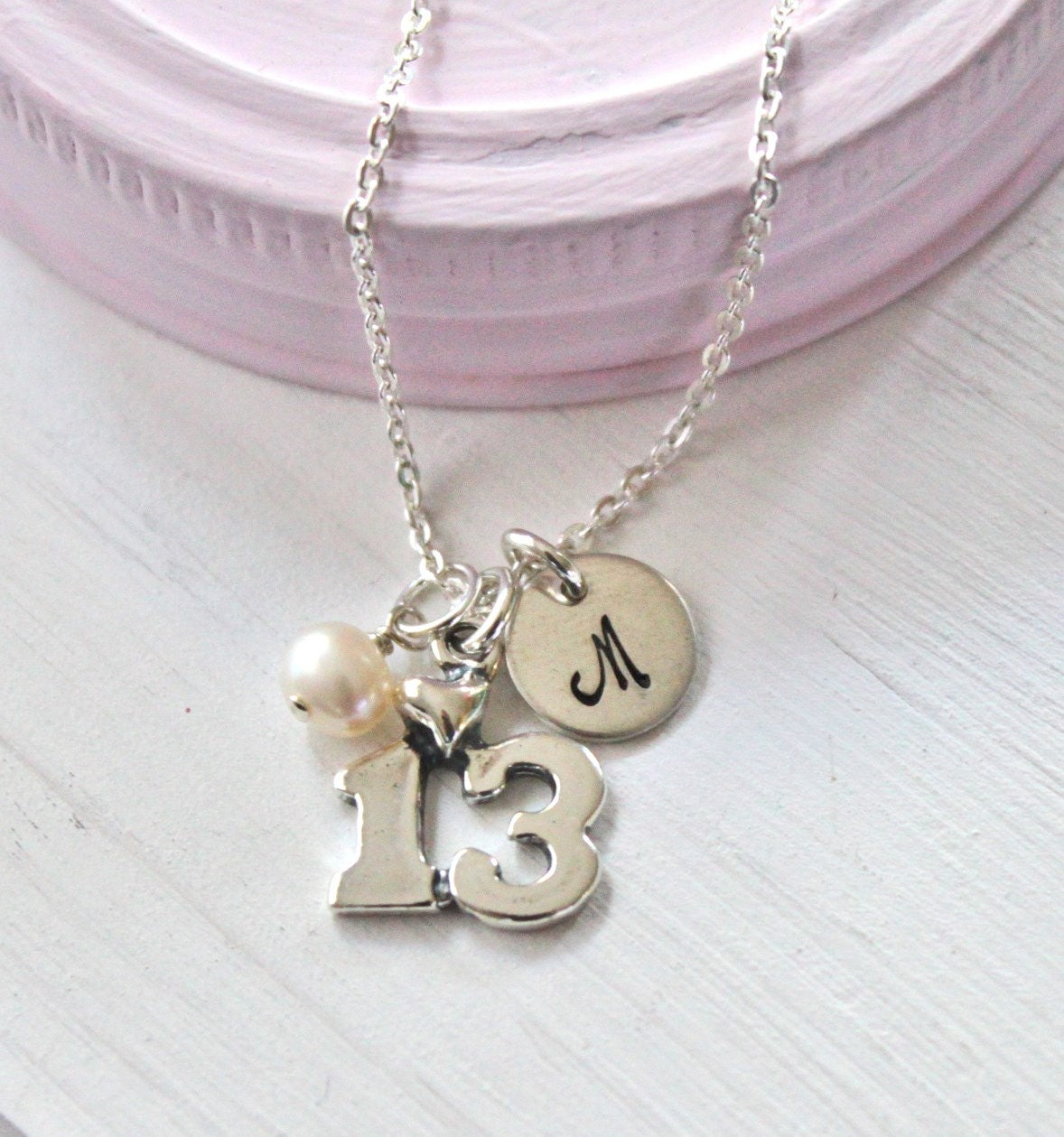 Personalized 18th Birthday Necklace Initial Custom: 13th Birthday Necklace Personalized Girls Necklace Hand